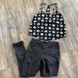 Black and pink pattern tank top